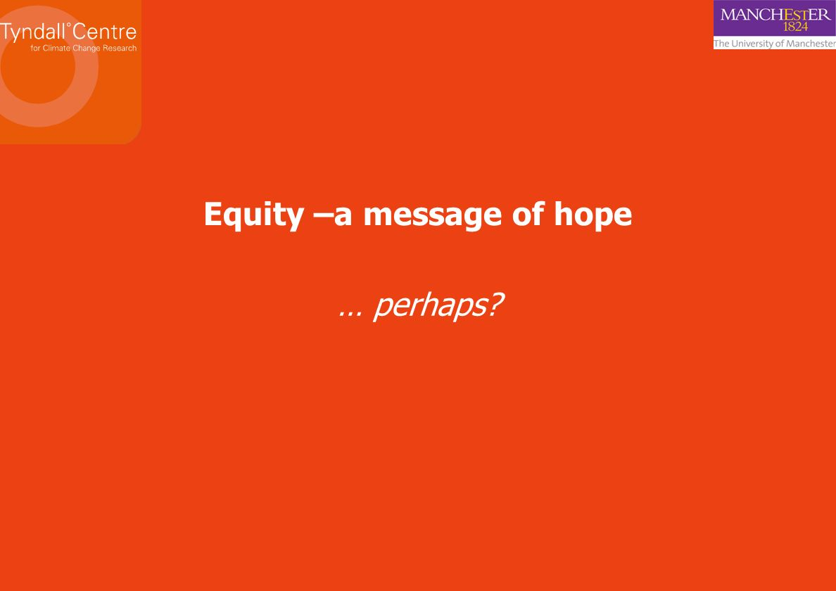 Equity –a message of hope … perhaps?