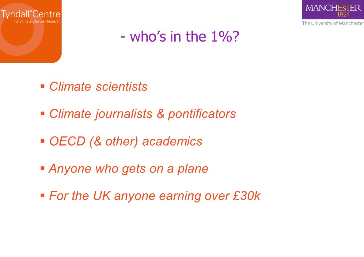 - whos in the 1%? Climate scientists Climate journalists & pontificators OECD (& other) academics Anyone who gets on a plane For the UK anyone earning