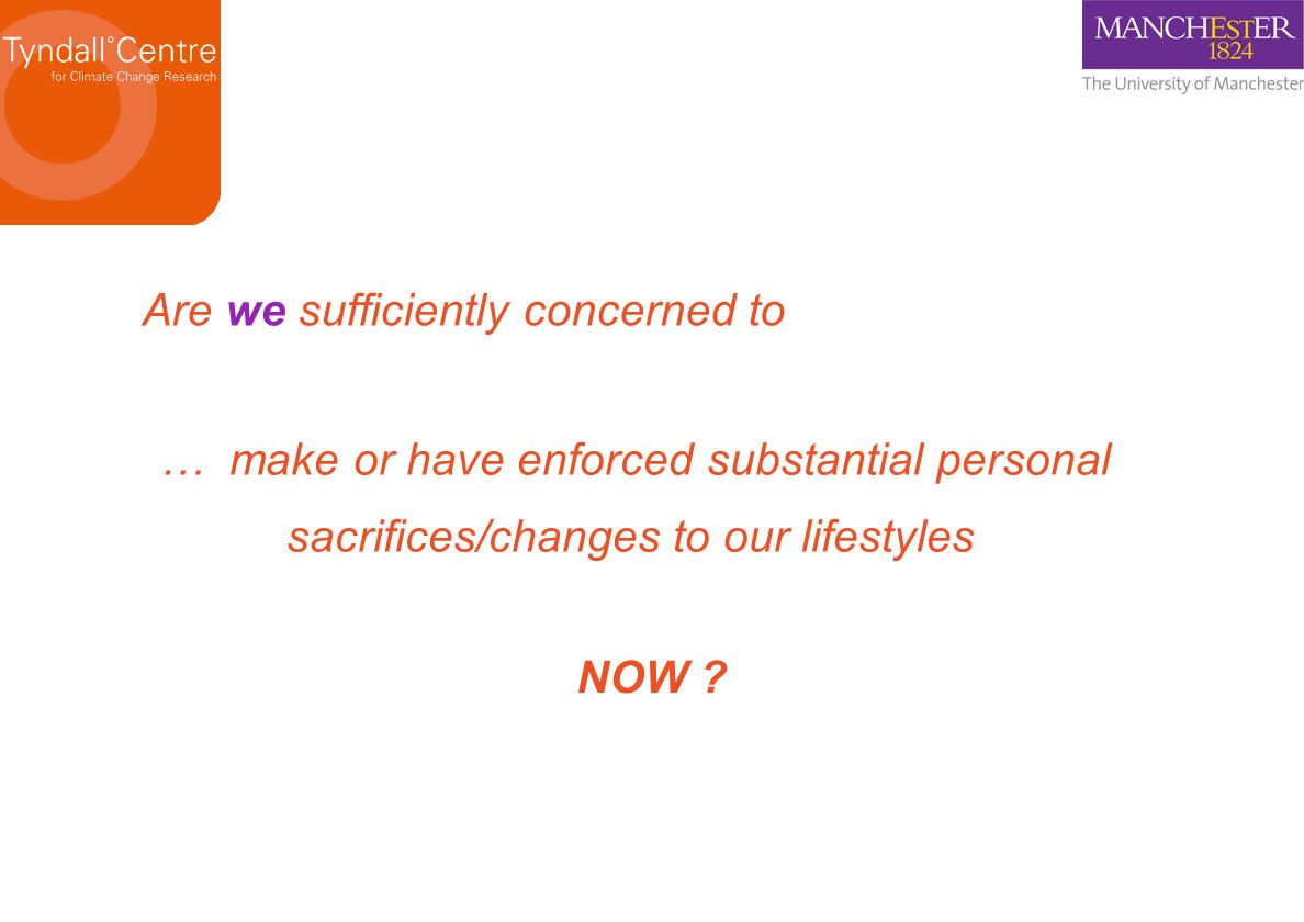 Are we sufficiently concerned to … make or have enforced substantial personal sacrifices/changes to our lifestyles NOW ?