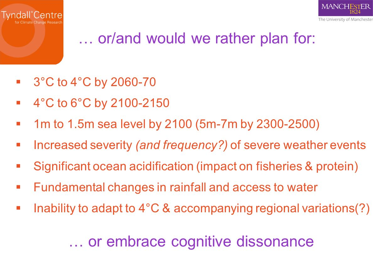 3°C to 4°C by 2060-70 4°C to 6°C by 2100-2150 1m to 1.5m sea level by 2100 (5m-7m by 2300-2500) Increased severity (and frequency?) of severe weather