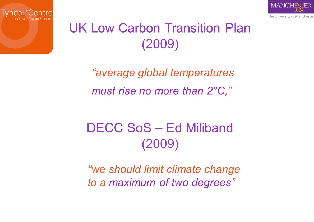 UK Low Carbon Transition Plan (2009) average global temperatures must rise no more than 2°C, we should limit climate change to a maximum of two degree