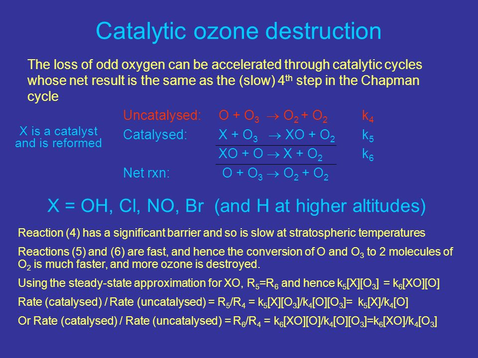 Catalytic ozone destruction The loss of odd oxygen can be accelerated through catalytic cycles whose net result is the same as the (slow) 4 th step in