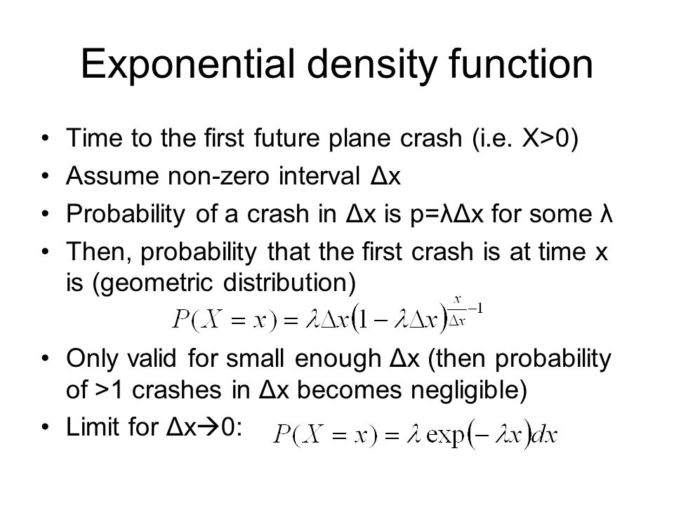 Exponential density function Time to the first future plane crash (i.e.