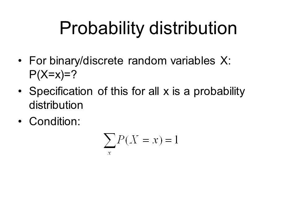 Poisson distribution Distribution over the number of plane crashes in a unit time interval Limit of the Binomial distribution: –Binomial: n trials, probability p per trial –Poisson: n/Δx trials, probability pΔx per trial, in the limit for Δx 0 (work it out!) Result:
