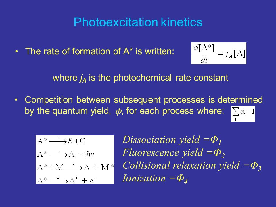 Photoexcitation kinetics The rate of formation of A* is written: where j A is the photochemical rate constant Competition between subsequent processes