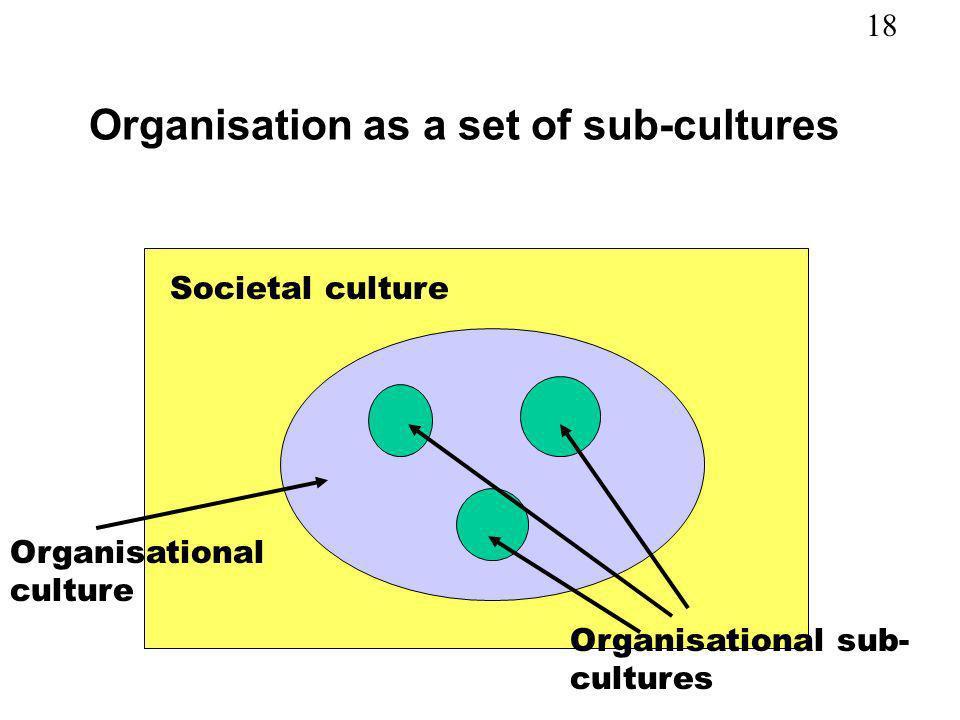 18 Organisation as a set of sub-cultures Societal culture Organisational culture Organisational sub- cultures