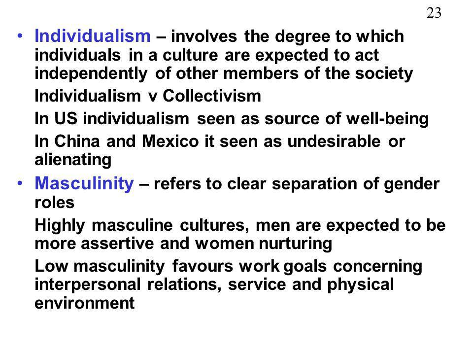 23 Individualism – involves the degree to which individuals in a culture are expected to act independently of other members of the society Individuali