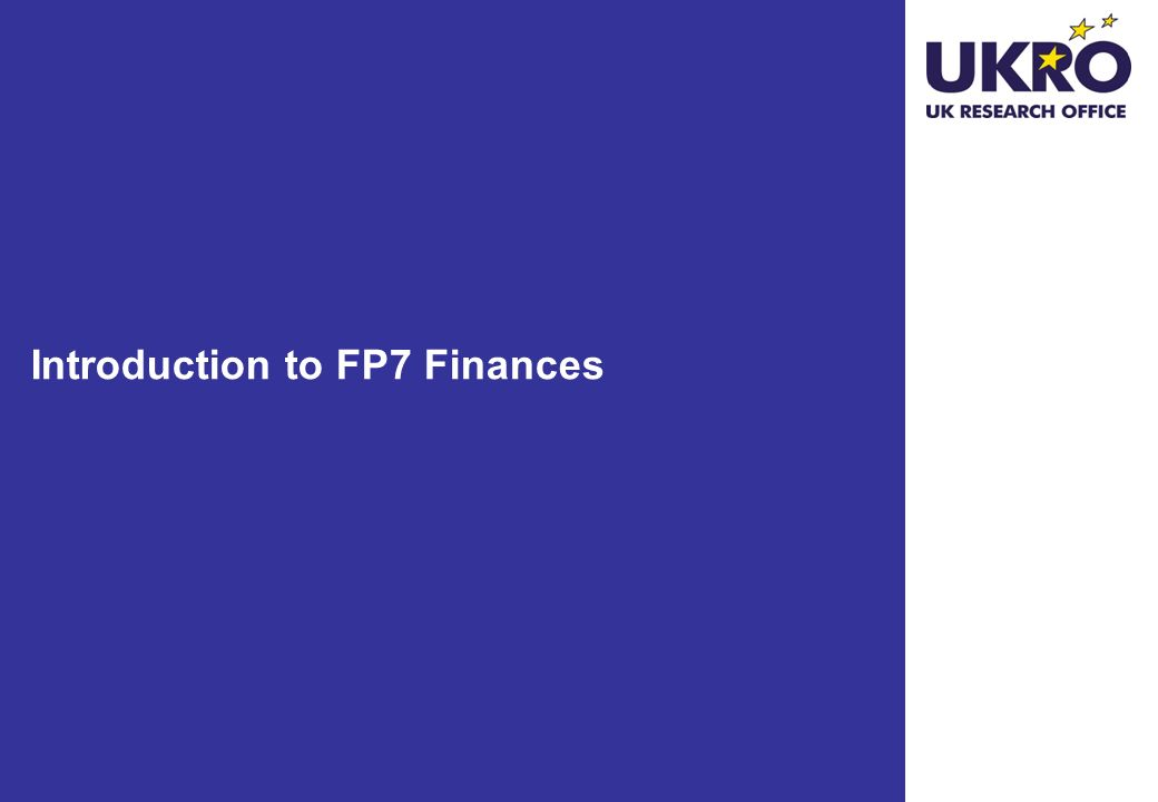 Introduction to FP7 Finances