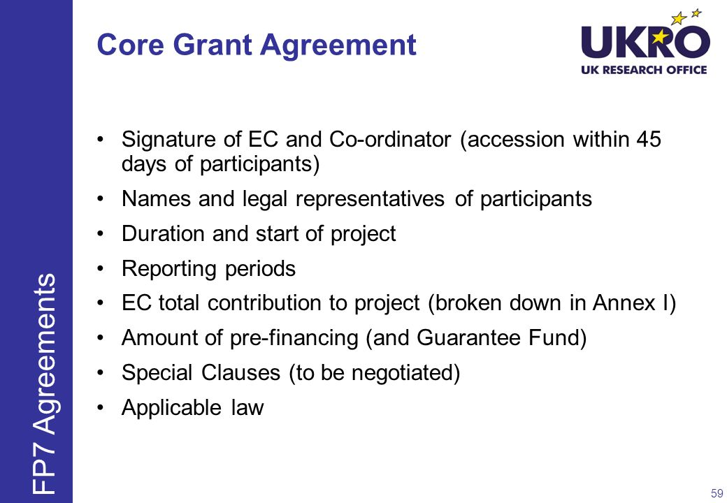 Core Grant Agreement Signature of EC and Co-ordinator (accession within 45 days of participants) Names and legal representatives of participants Durat