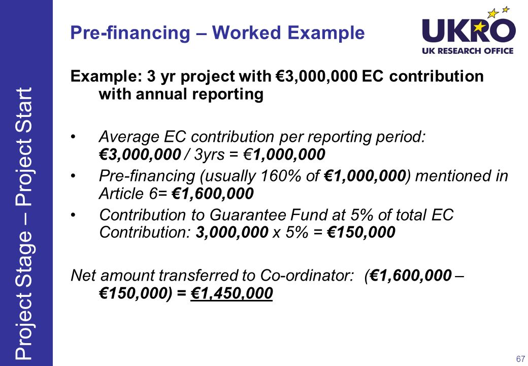 Pre-financing – Worked Example Example: 3 yr project with 3,000,000 EC contribution with annual reporting Average EC contribution per reporting period
