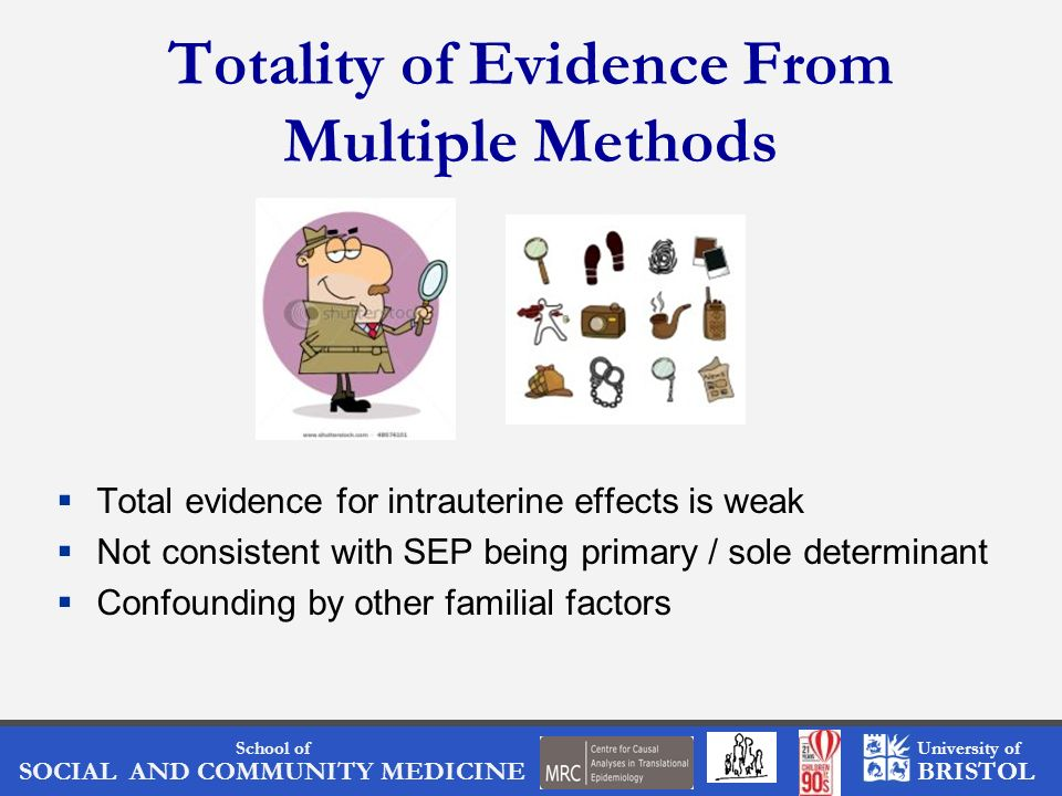 School of SOCIAL AND COMMUNITY MEDICINE University of BRISTOL Totality of Evidence From Multiple Methods Total evidence for intrauterine effects is we