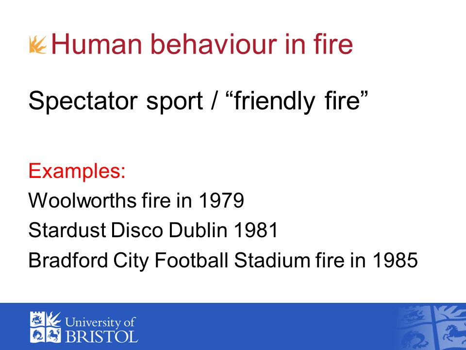 Human behaviour in fire Spectator sport / friendly fire Examples: Woolworths fire in 1979 Stardust Disco Dublin 1981 Bradford City Football Stadium fi