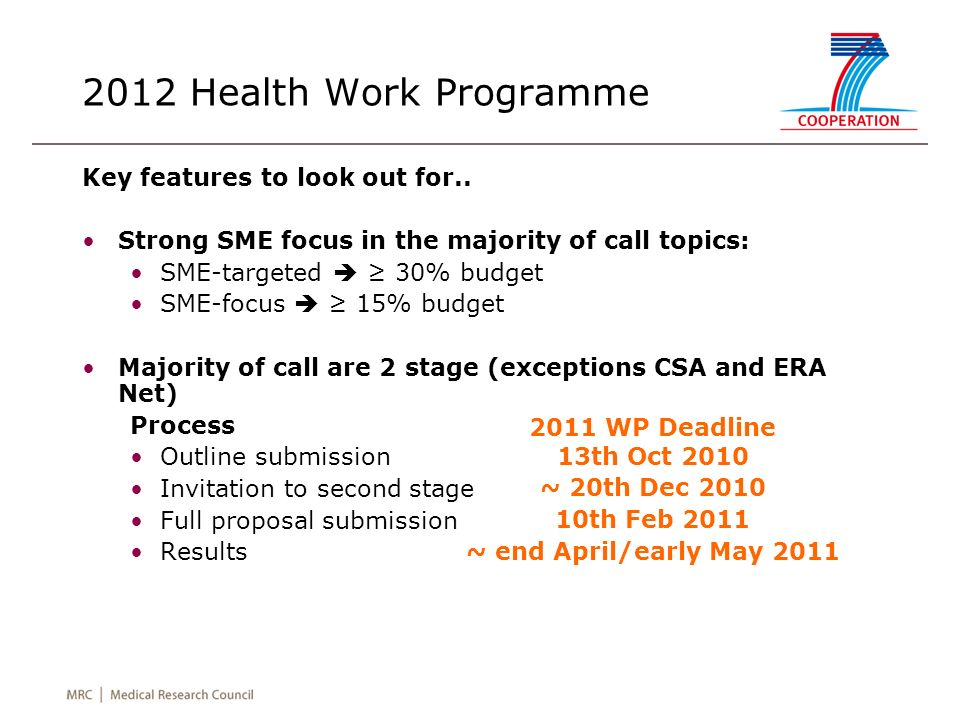 2012 Health Work Programme Key features to look out for.. Strong SME focus in the majority of call topics: SME-targeted 30% budget SME-focus 15% budge