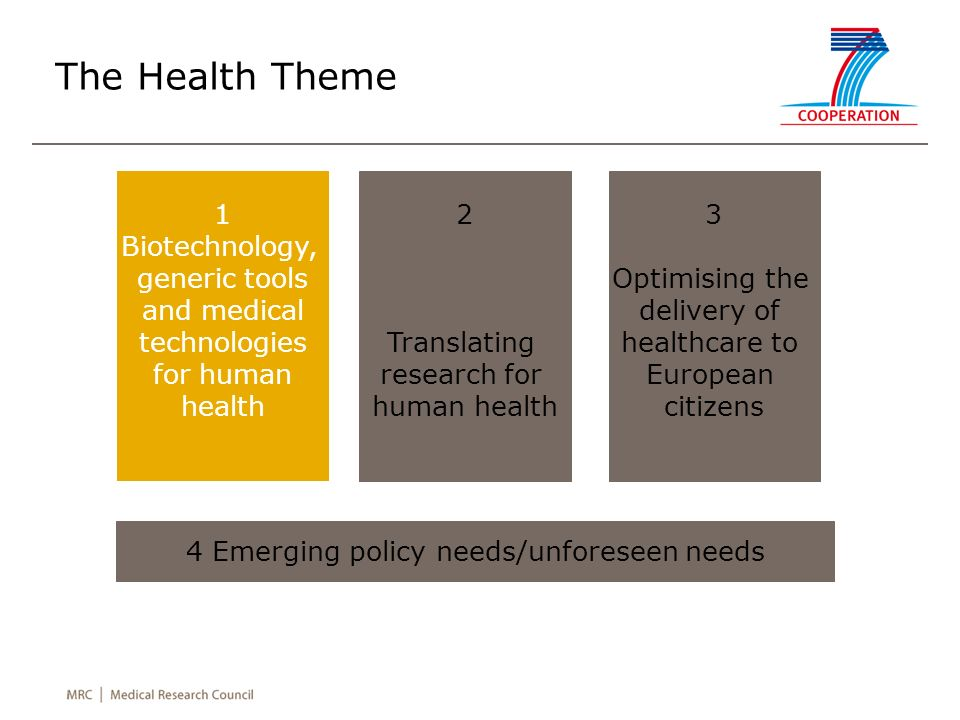 The Health Theme 1 Biotechnology, generic tools and medical technologies for human health 2 Translating research for human health 3 Optimising the delivery of healthcare to European citizens 4 Emerging policy needs/unforeseen needs