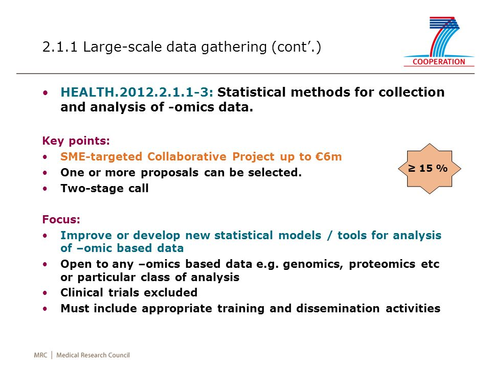 2.1.1 Large-scale data gathering (cont.) HEALTH.2012.2.1.1-3: Statistical methods for collection and analysis of -omics data. Key points: SME-targeted