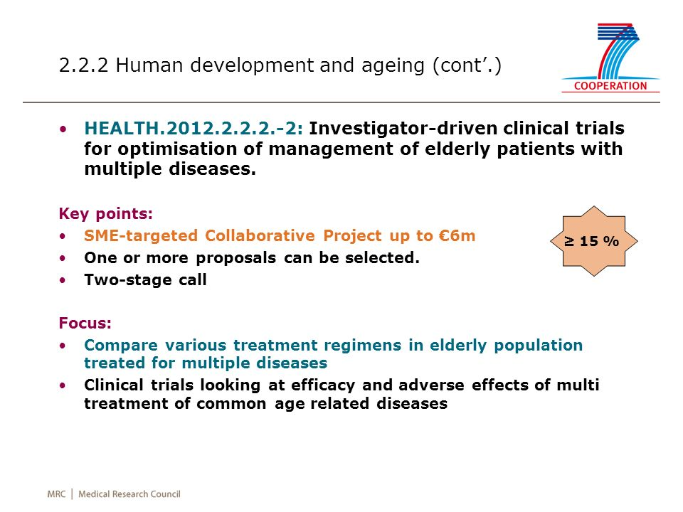 2.2.2 Human development and ageing (cont.) HEALTH.2012.2.2.2.-2: Investigator-driven clinical trials for optimisation of management of elderly patients with multiple diseases.