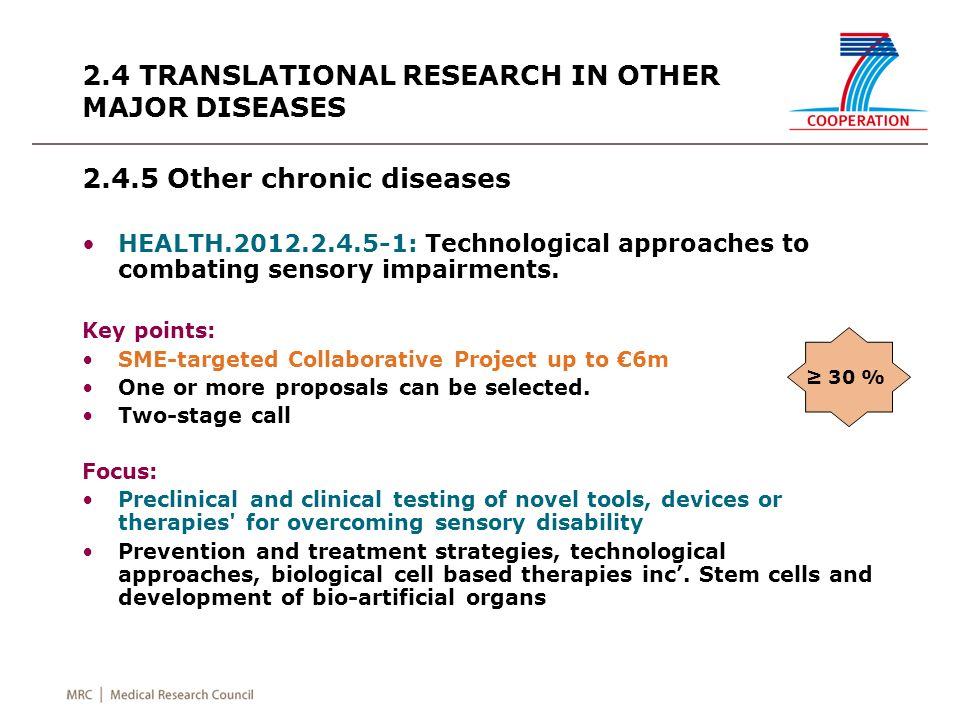 2.4 TRANSLATIONAL RESEARCH IN OTHER MAJOR DISEASES 2.4.5 Other chronic diseases HEALTH.2012.2.4.5-1: Technological approaches to combating sensory impairments.