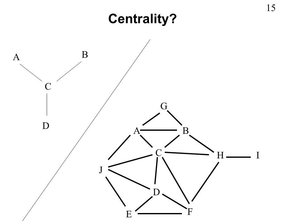 15 Centrality? A B C D AB C D E F G HI J