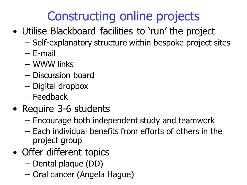 Constructing online projects Utilise Blackboard facilities to run the project –Self-explanatory structure within bespoke project sites –E-mail –WWW li