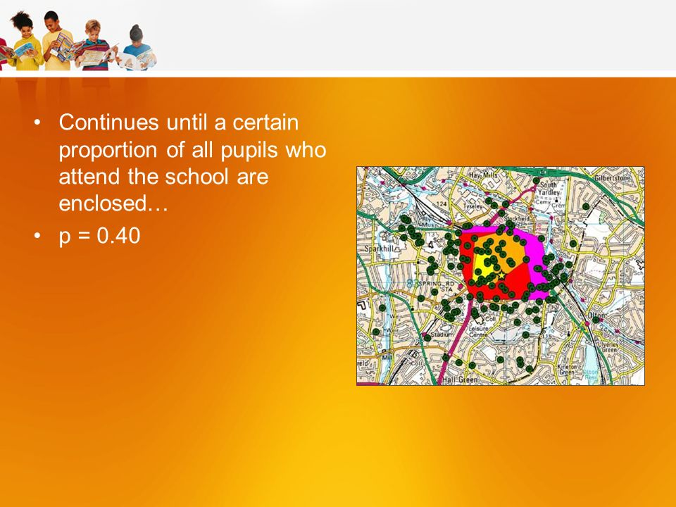 Continues until a certain proportion of all pupils who attend the school are enclosed… p = 0.40