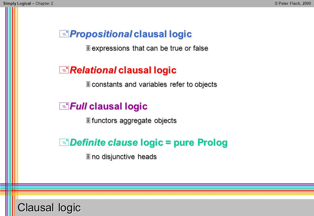 Simply Logical – Chapter 2© Peter Flach, 2000 Clausal logic Propositional clausal logic Propositional clausal logic expressions that can be true or false expressions that can be true or false Relational clausal logic Relational clausal logic constants and variables refer to objects constants and variables refer to objects Full clausal logic Full clausal logic functors aggregate objects functors aggregate objects Definite clause logic = pure Prolog Definite clause logic = pure Prolog no disjunctive heads no disjunctive heads
