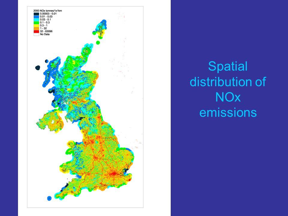 Spatial distribution of NOx emissions