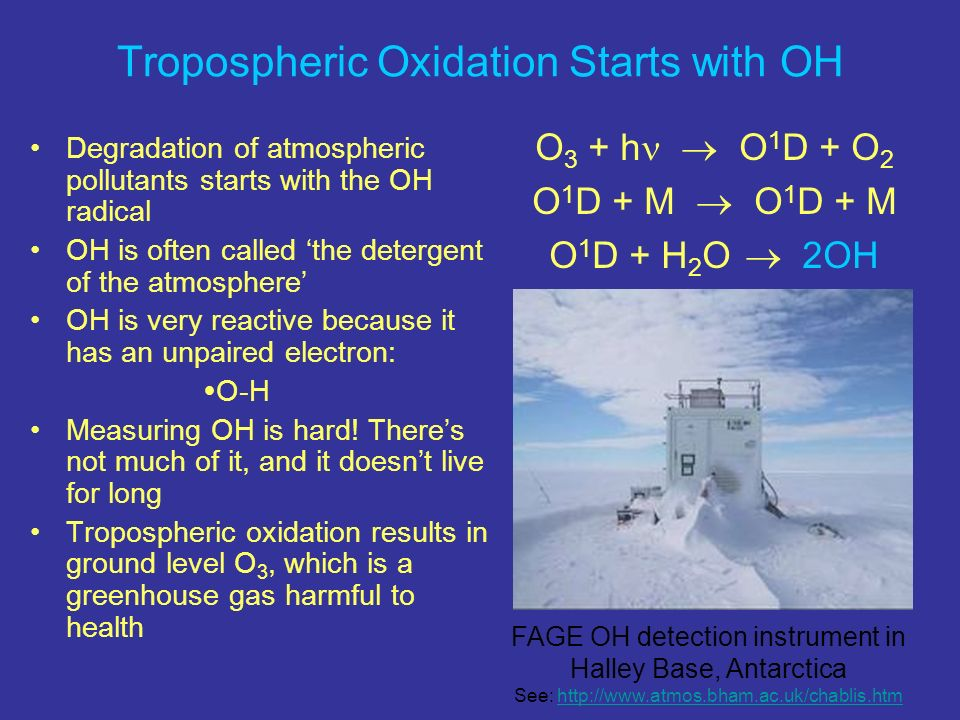 Tropospheric Oxidation Starts with OH Degradation of atmospheric pollutants starts with the OH radical OH is often called the detergent of the atmosph