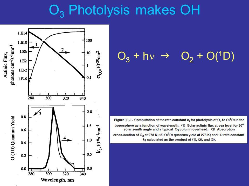 O 3 Photolysis makes OH O 3 + h O 2 + O( 1 D)