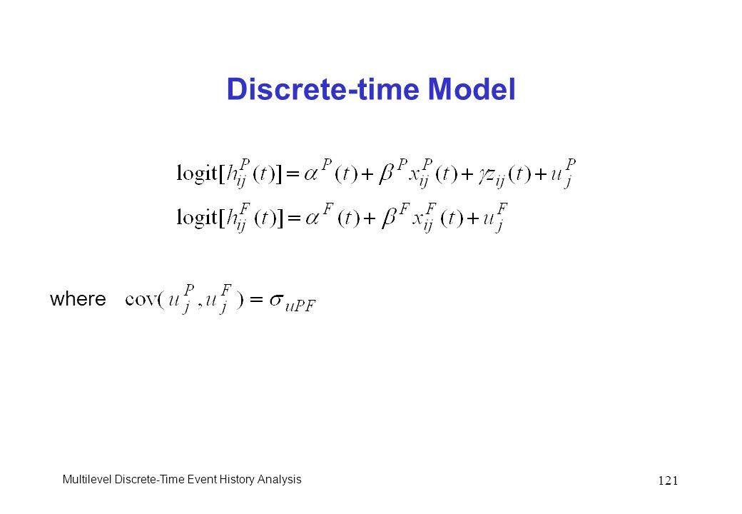 Multilevel Discrete-Time Event History Analysis 121 Discrete-time Model where