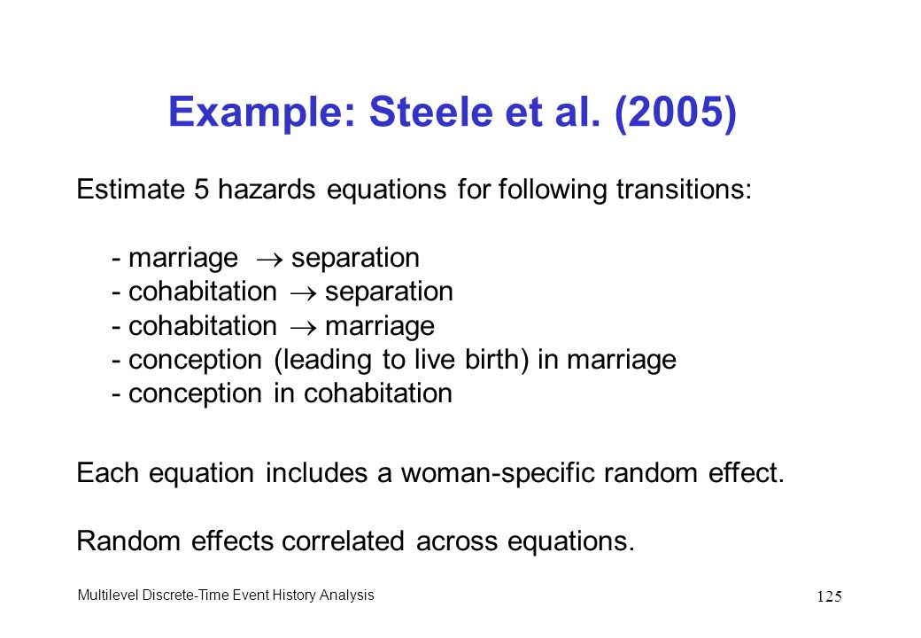 Multilevel Discrete-Time Event History Analysis 125 Example: Steele et al. (2005) Estimate 5 hazards equations for following transitions: - marriage s