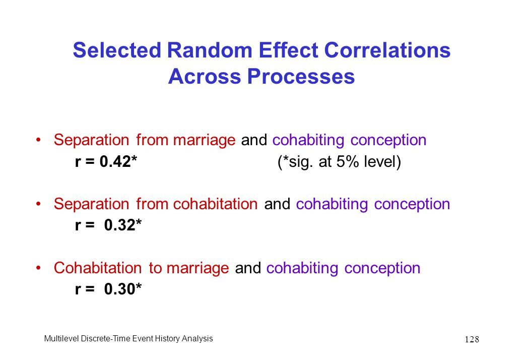 Multilevel Discrete-Time Event History Analysis 128 Selected Random Effect Correlations Across Processes Separation from marriage and cohabiting conce