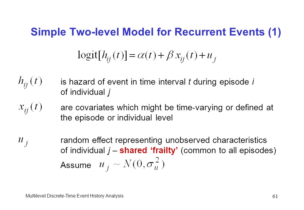 Multilevel Discrete-Time Event History Analysis 61 Simple Two-level Model for Recurrent Events (1) is hazard of event in time interval t during episod