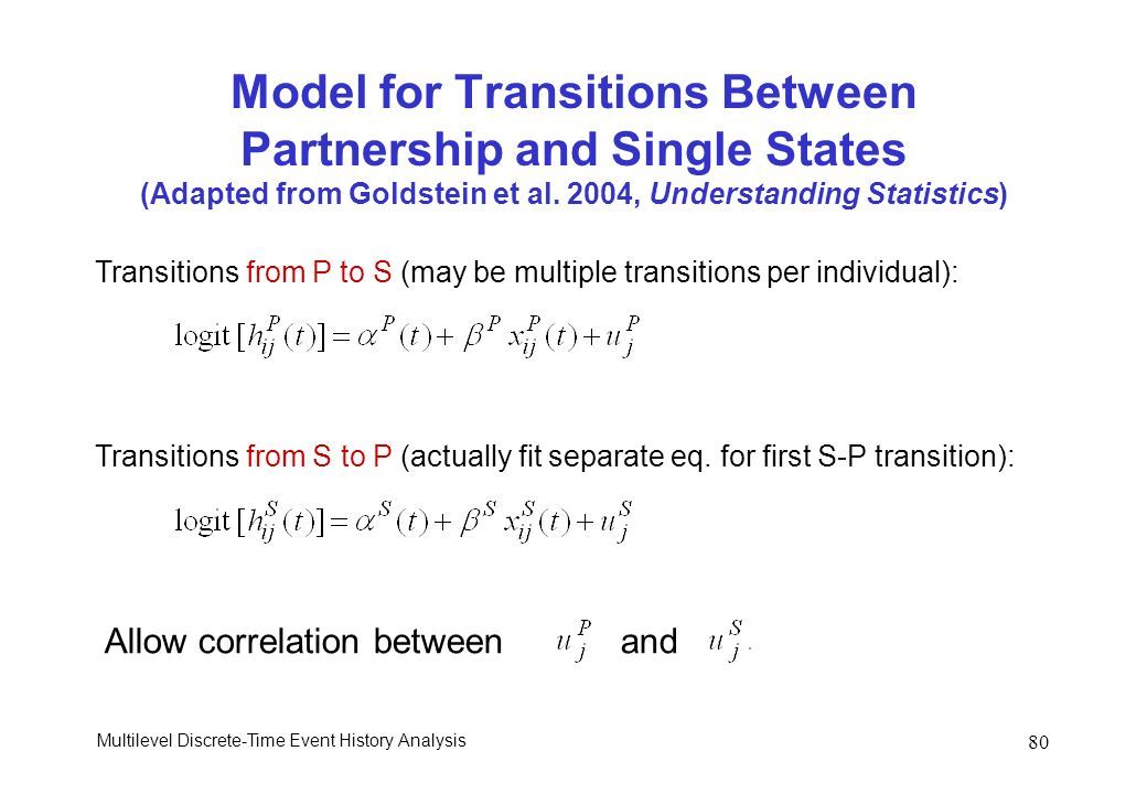 Multilevel Discrete-Time Event History Analysis 80 Model for Transitions Between Partnership and Single States (Adapted from Goldstein et al. 2004, Un