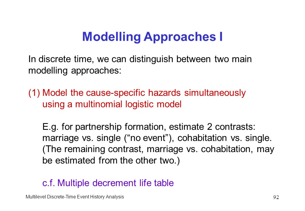 Multilevel Discrete-Time Event History Analysis 92 Modelling Approaches I In discrete time, we can distinguish between two main modelling approaches: