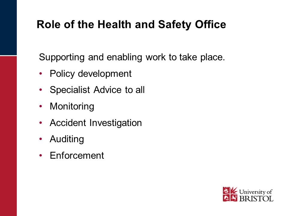 Role of the Health and Safety Office Supporting and enabling work to take place. Policy development Specialist Advice to all Monitoring Accident Inves