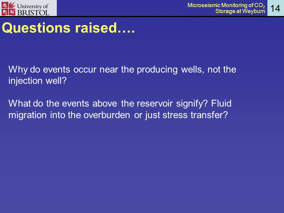Questions raised…. Why do events occur near the producing wells, not the injection well.