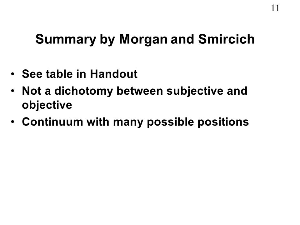 11 Summary by Morgan and Smircich See table in Handout Not a dichotomy between subjective and objective Continuum with many possible positions