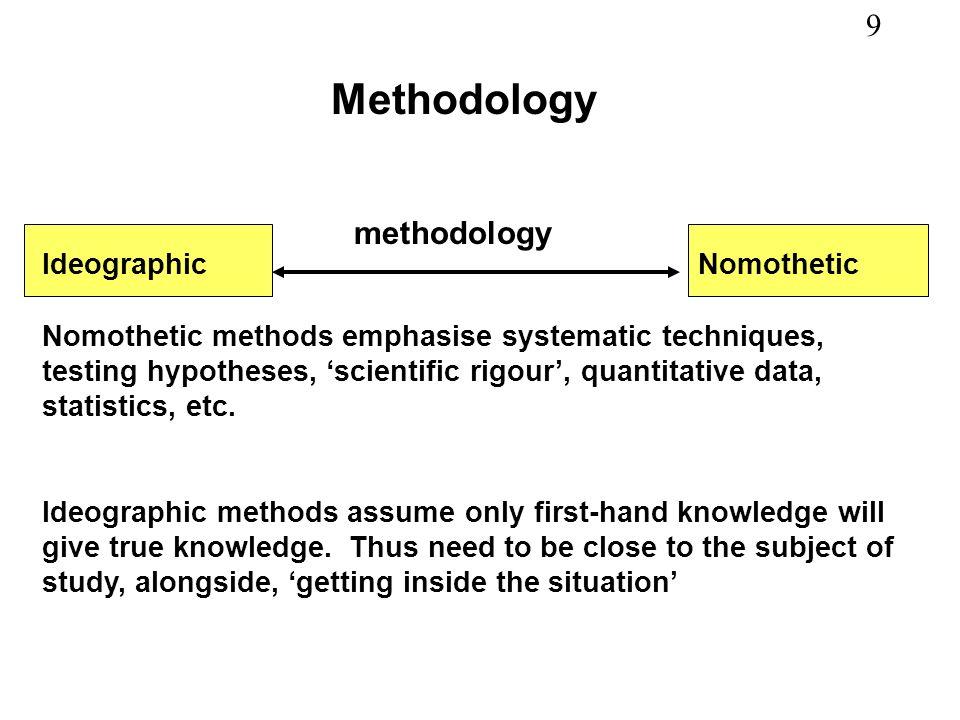 9 Methodology IdeographicNomothetic methodology Nomothetic methods emphasise systematic techniques, testing hypotheses, scientific rigour, quantitativ