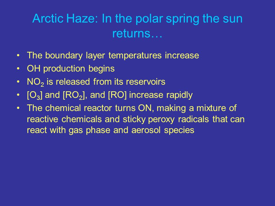 Arctic Haze: In the polar spring the sun returns… The boundary layer temperatures increase OH production begins NO 2 is released from its reservoirs [O 3 ] and [RO 2 ], and [RO] increase rapidly The chemical reactor turns ON, making a mixture of reactive chemicals and sticky peroxy radicals that can react with gas phase and aerosol species