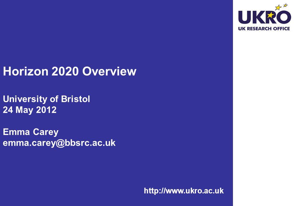 http://www.ukro.ac.uk Horizon 2020 Overview University of Bristol 24 May 2012 Emma Carey emma.carey@bbsrc.ac.uk