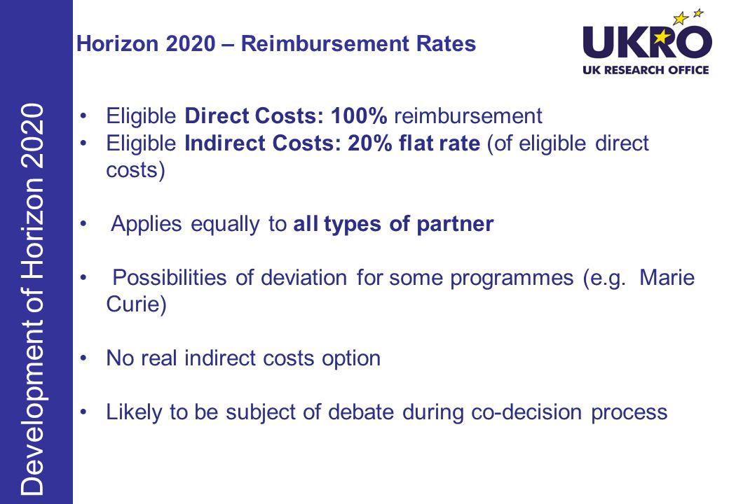 Horizon 2020 – Reimbursement Rates Eligible Direct Costs: 100% reimbursement Eligible Indirect Costs: 20% flat rate (of eligible direct costs) Applies