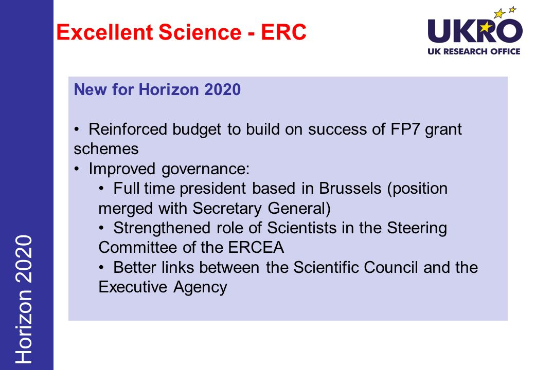 Excellent Science - ERC Horizon 2020 New for Horizon 2020 Reinforced budget to build on success of FP7 grant schemes Improved governance: Full time pr