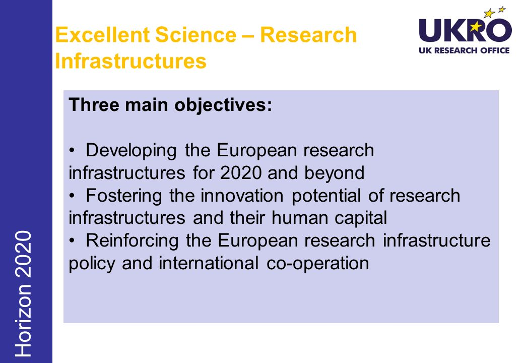 Excellent Science – Research Infrastructures Horizon 2020 Three main objectives: Developing the European research infrastructures for 2020 and beyond