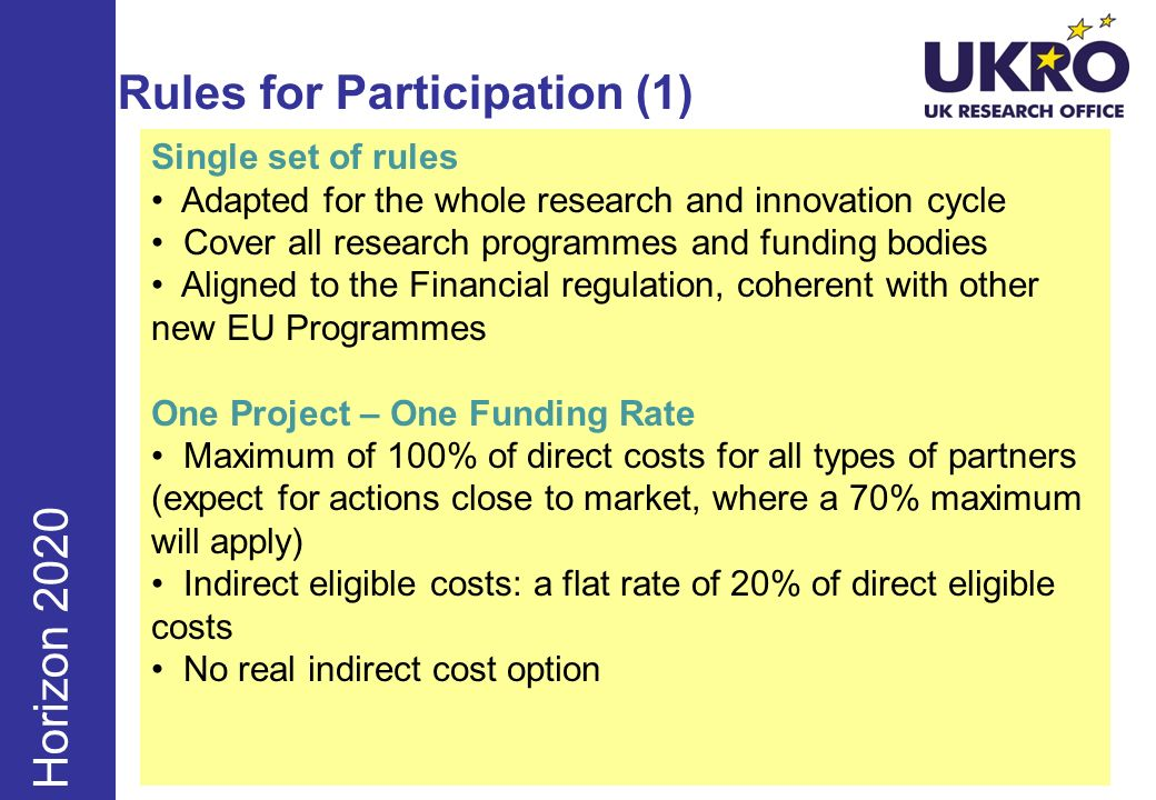 Rules for Participation (1) Horizon 2020 Single set of rules Adapted for the whole research and innovation cycle Cover all research programmes and fun