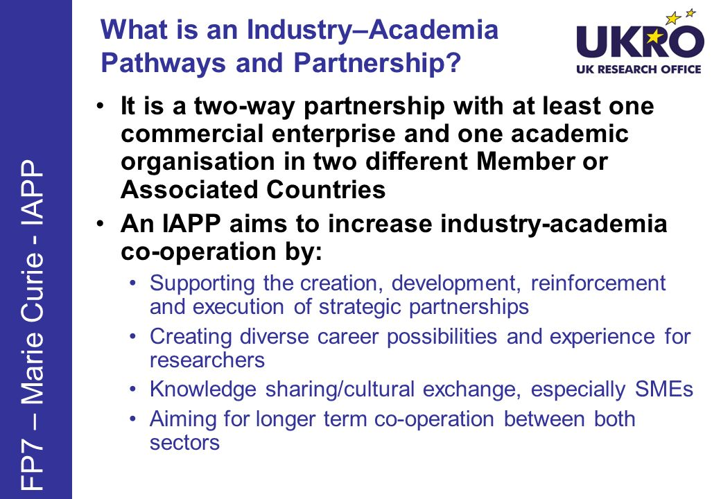 What is an Industry–Academia Pathways and Partnership.