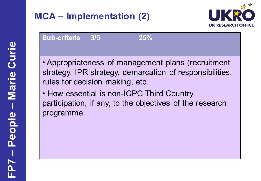 MCA – Implementation (2) Sub-criteria 3/525% Appropriateness of management plans (recruitment strategy, IPR strategy, demarcation of responsibilities, rules for decision making, etc.