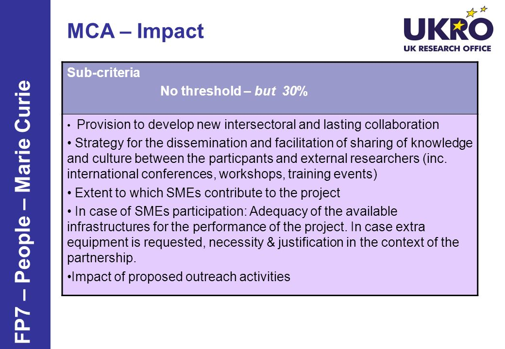 MCA – Impact Sub-criteria No threshold – but 30% Provision to develop new intersectoral and lasting collaboration Strategy for the dissemination and facilitation of sharing of knowledge and culture between the particpants and external researchers (inc.