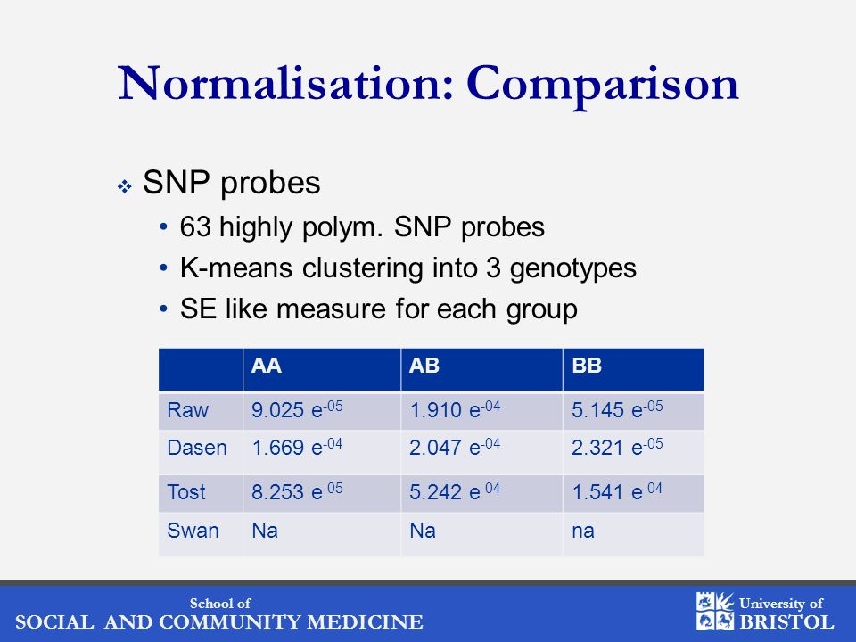 School of SOCIAL AND COMMUNITY MEDICINE University of BRISTOL Normalisation: Comparison SNP probes 63 highly polym.