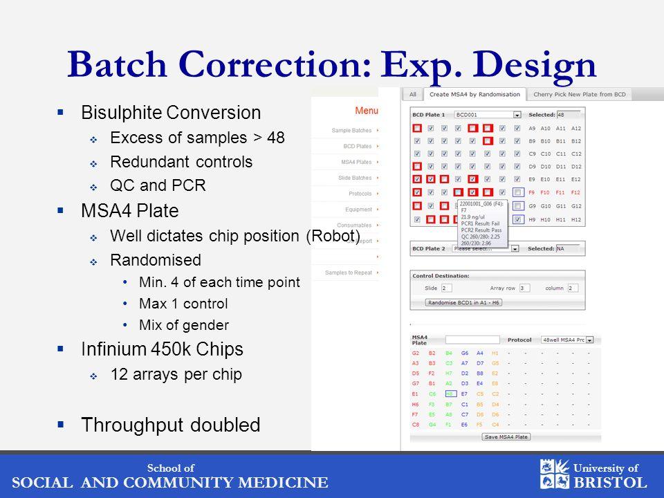 School of SOCIAL AND COMMUNITY MEDICINE University of BRISTOL Batch Correction: Exp. Design Bisulphite Conversion Excess of samples > 48 Redundant con