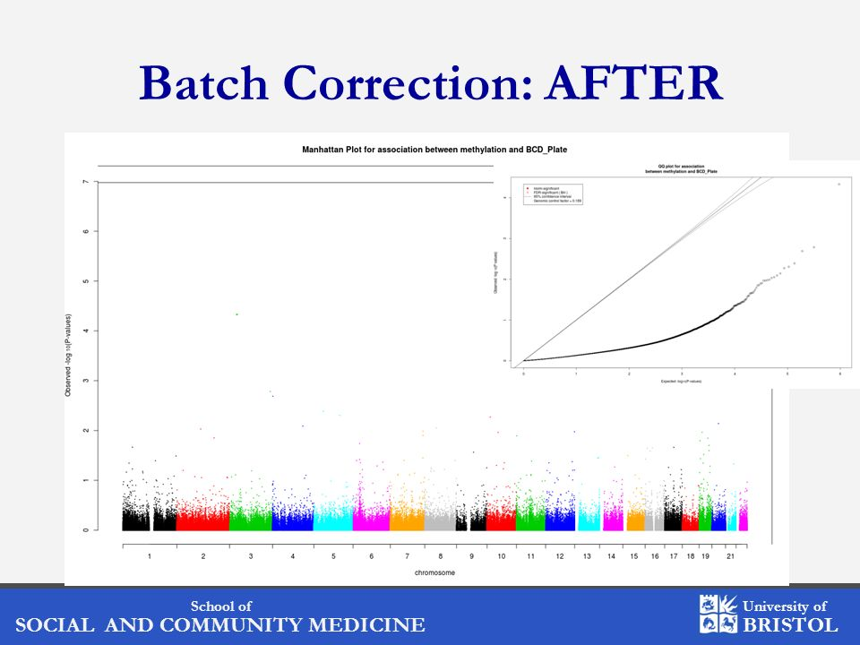 School of SOCIAL AND COMMUNITY MEDICINE University of BRISTOL Batch Correction: AFTER